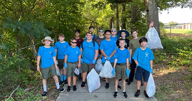 SKA partners with Boy Scout Troop 107 for Greenway Clean Up